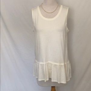 Logo by Lori Goldstein ivory ruffle top size med